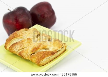 Delicious Apple Strudel On Green Plate