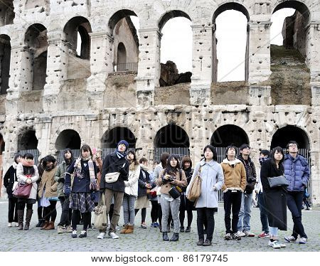 Young Japanese Tourists In Italy