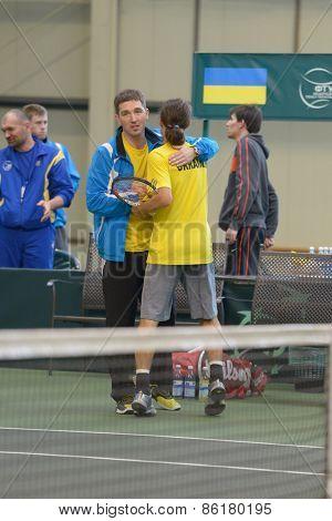 DNEPROPETROVSK, UKRAINE - APRIL 5, 2013: Alexander Dolgopolov, Ukraine win the Davis Cup match Ukraine vs Sweden. Ukraine won the match 3-2