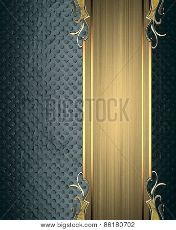 Blue Beautiful Texture With Gold Ribbon With Patterns. Pattern For Decoration