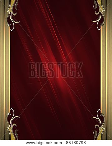 Red Grunge Background With Golden Frame. Design Template