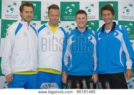 DNEPROPETROVSK, UKRAINE - APRIL 4, 2013: (left to right) Johan Brunstrom, Robert Lindstedt, Sweden, Illya Marchenko and Sergey Stakhovsky, Ukraine before Davis Cup match Ukraine vs Sweden