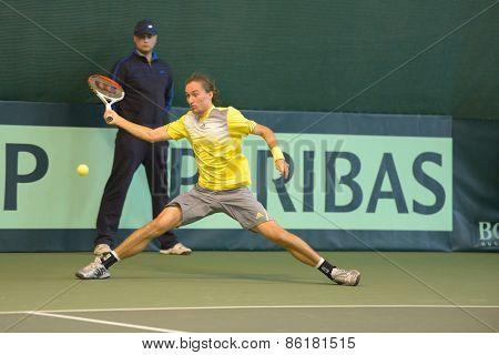 DNEPROPETROVSK, UKRAINE - APRIL 5, 2013: Alexander Dolgopolov, Ukraine in the Davis Cup match Ukraine vs Sweden. Ukraine won the match 3-2