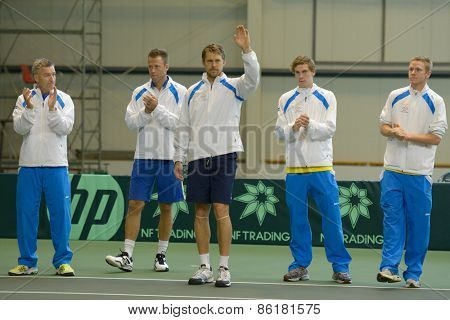 DNEPROPETROVSK, UKRAINE - APRIL 6, 2013: Swedish team before the Davis Cup match against Ukraine. Left to right: Fredrik Rosengren, Robert Lindstedt, Johan Brunstrom, Isak Arvidsson, Markus Eriksson