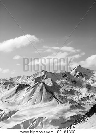 Black And White Snowy Mountains In Nice Sun Day