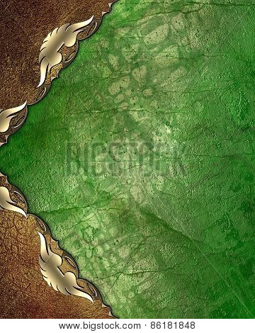 Abstract Pattern For Design. Green Grunge Background With Gold Patterned Angles