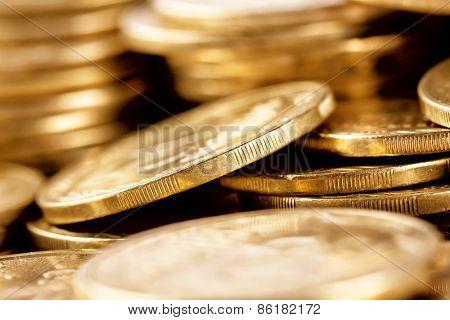 Bright Golden Coins Shot A Bunch