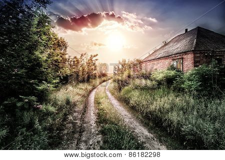 Old Brick House And The Road