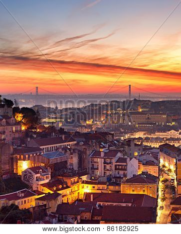 Lisbon Cityscape At Sunset