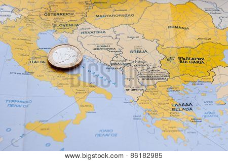 Euro Coin On Mediterranean County Map.