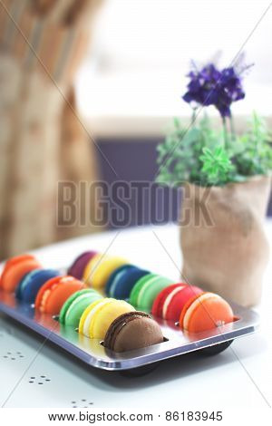 Macarons Dessert In Cafe