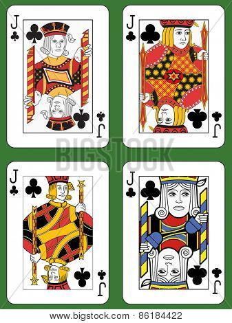 Four Jacks of Clubs in four different styles on a green background