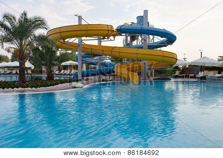 Aquapark sliders, aqua park, water park, pool.