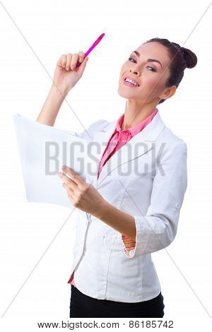Friendly woman holding papers. All isolated on white background.