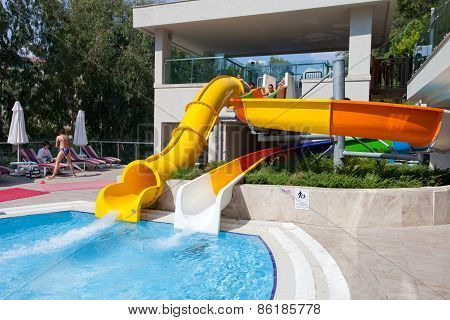 Entertainment complex and pool. Side. Turkey