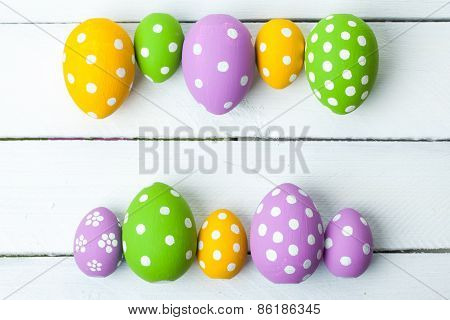 Colorful easter eggs, with space for text