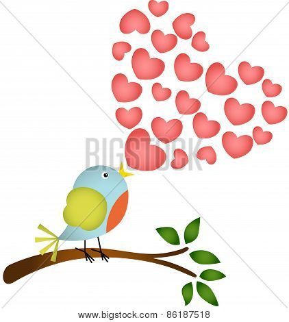 Bird singing a love heart song
