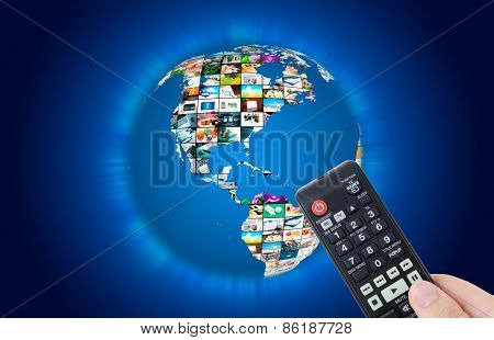 Television Broadcast Multimedia World Map Vabstract Composition