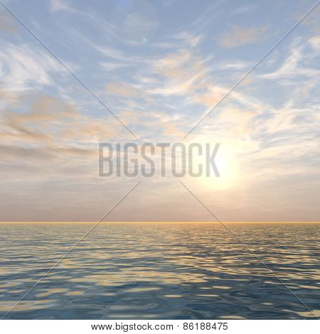 A beautiful seascape with water and waves and a sky with clouds at sunset