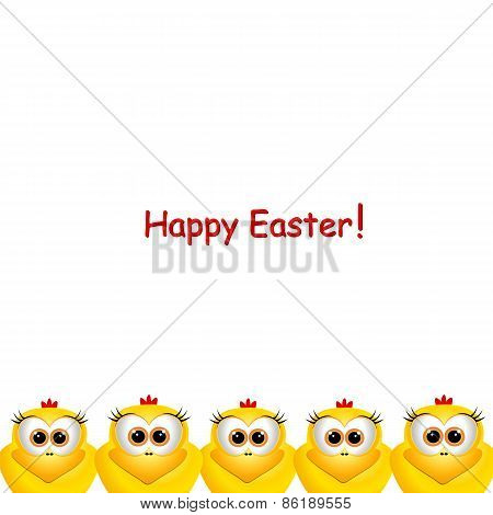 Easter Card With Little Chickens