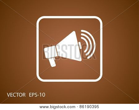 Flat icon of megaphone
