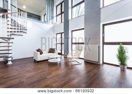 White Sofa In Empty Interior