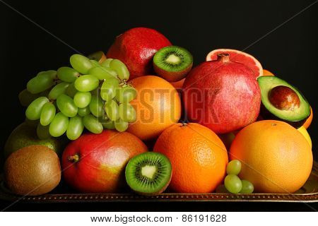 Assortment of fruits on table, close-up