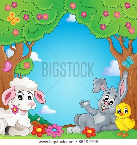 Spring animals theme image - eps10 vector illustration.