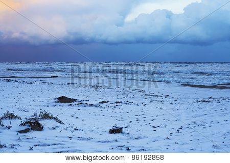 Beach In Winter Snow