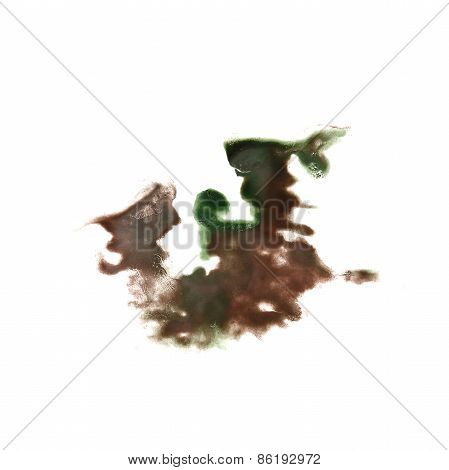 Abstract green,brown watercolor hand painted background insult R