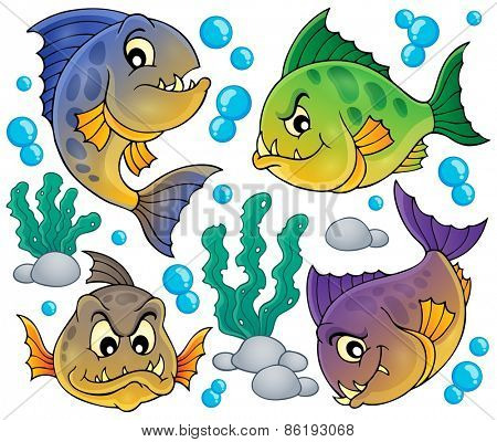 Piranha fishes collection - eps10 vector illustration.