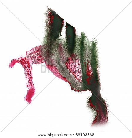 abstract hand dark green, pink drawn watercolor blot insult Rors