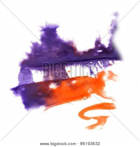 abstract hand lilac, orange drawn watercolor blot insult Rorscha