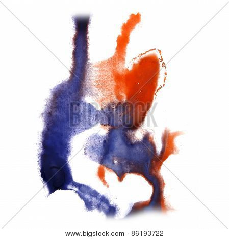 abstract hand orange, lilac drawn watercolor blot insult Rorscha