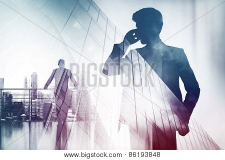 Double Exposure With Businessman Silhouette