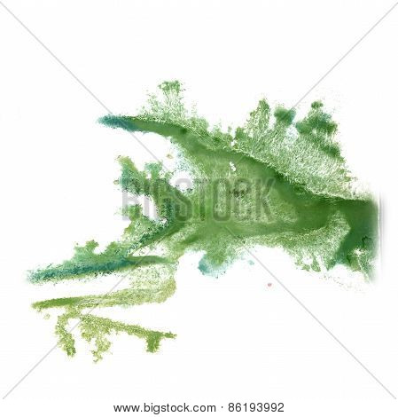 abstract light green hand drawn watercolor blot insult Rorschach