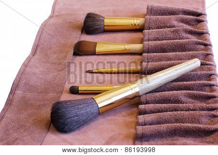 Makeup Brushes In A Leather Cover