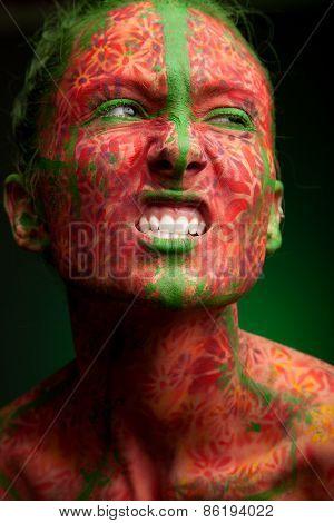 color face art woman face close up portrait