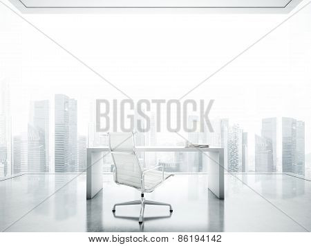 Workspace In The White Office With Big Panoramic Window