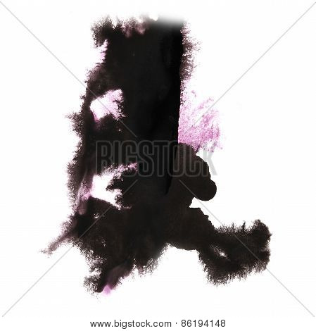 Abstract light pink, black watercolor hand painted background in