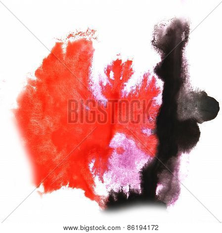 Abstract light pink, black, red watercolor hand painted backgrou