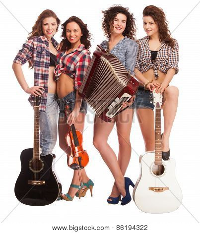 Trendy group of young people with musical instruments on a white background