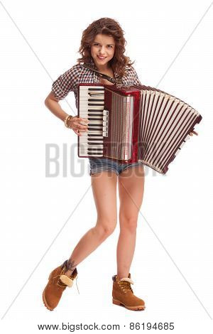 Pretty young sexy woman with accordion. Playing accordion. Studio Shot. Over white background