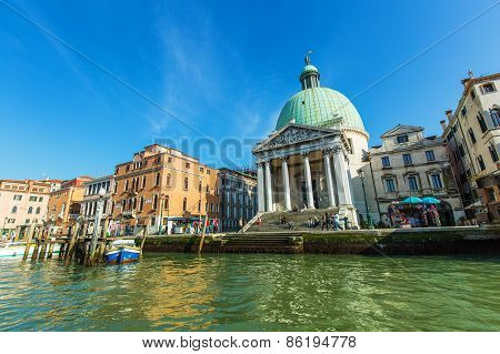Venice, Italy - Mar 18 - San Simeone Piccolo, Boats And Beautiful Buildings On Canal Grande On Mars