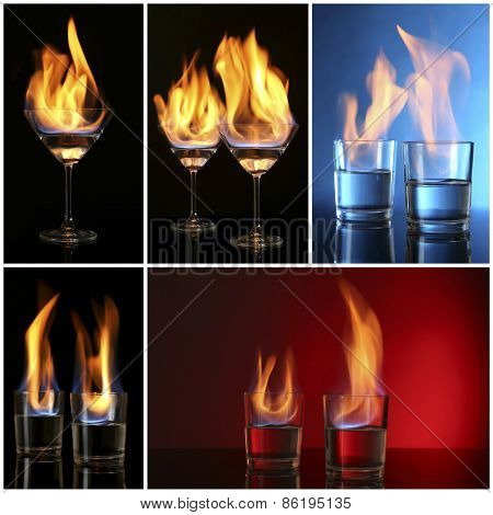Collage of burning alcohol