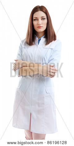 Young beautiful doctor isolated on white
