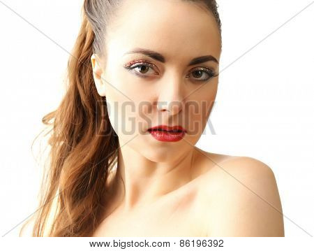 Portrait of beautiful woman with fancy glitter makeup isolated on white