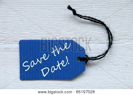 Blue Label With English Text Save The Date