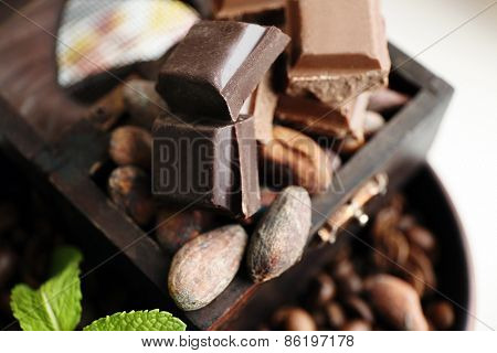 Still life with set of chocolate, nuts and coffee grains, closeup