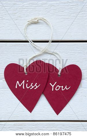 Two Hearts Label With Miss You Vertical